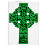 Verde de la cruz céltica tarjetas
