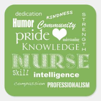Verde de la Cualidad-Cal del orgullo de la enferme Calcomanía Cuadradas Personalizada
