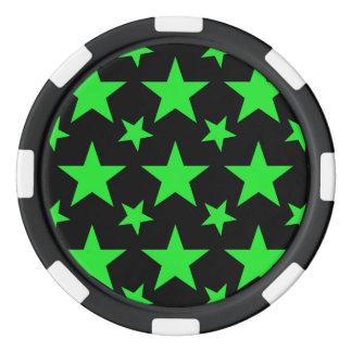 Verde de la estrella 2 fichas de póquer