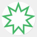 Verde de la estrella de Bahai Pegatina