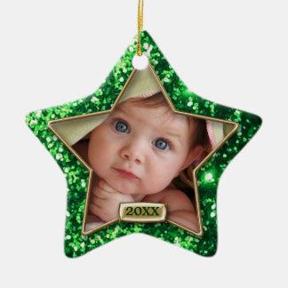 Verde de la estrella de la chispa/foto del oro ornamentos de navidad