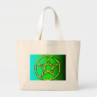 Verde de la estrella de Wiccan Bolsa Tela Grande