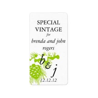 Verde de la etiqueta de la botella de vino del bod etiquetas de dirección