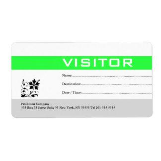 Verde de la etiqueta de la insignia del visitante etiquetas de envío