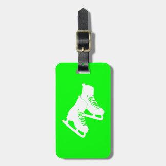 Verde de la etiqueta del equipaje de los patines d etiquetas maleta