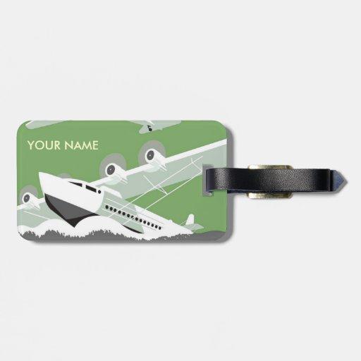 Verde de la etiqueta del equipaje del viaje del vi etiquetas para equipaje