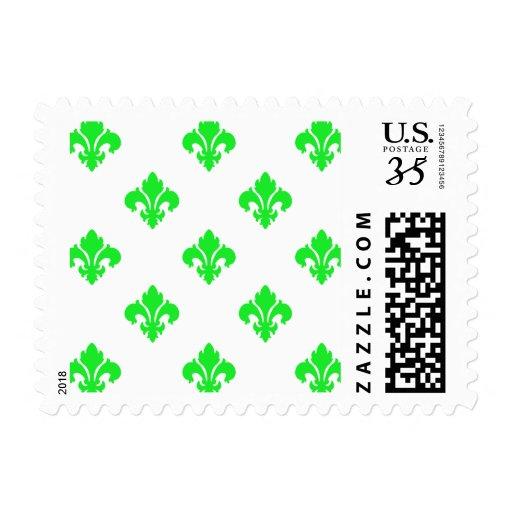 Verde de la flor de lis 1 sellos