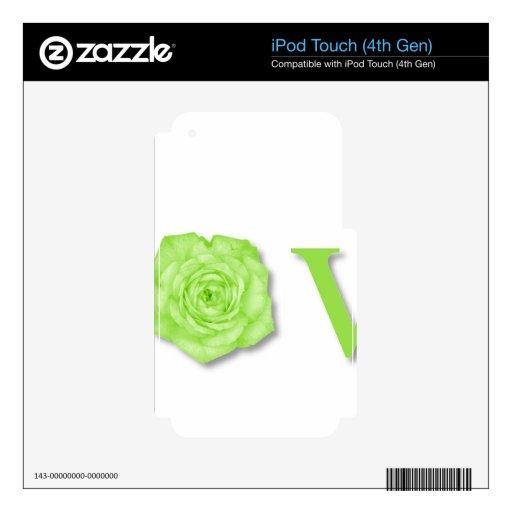Verde de la flor del amor calcomanías para iPod touch 4G