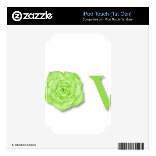 Verde de la flor del amor calcomanía para el iPod touch