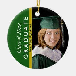 Verde de la graduación y foto del oro adorno navideño redondo de cerámica