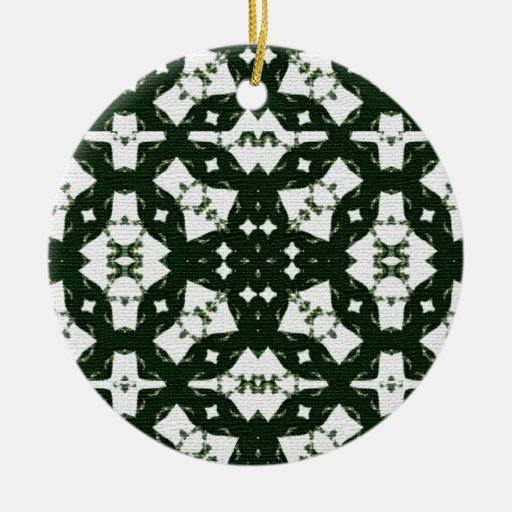 Verde de la guirnalda del navidad adorno navideño redondo de cerámica