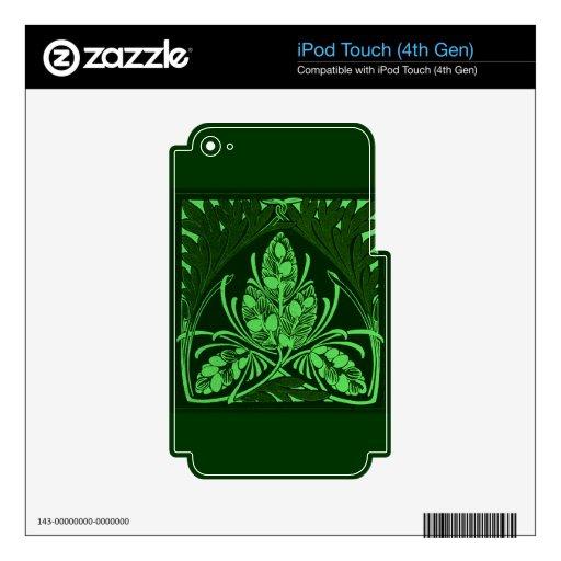 Verde de la hoja floral del vintage iPod touch 4G calcomanías
