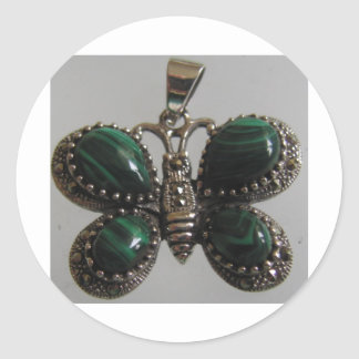 verde de la imagen de la mariposa pegatina redonda