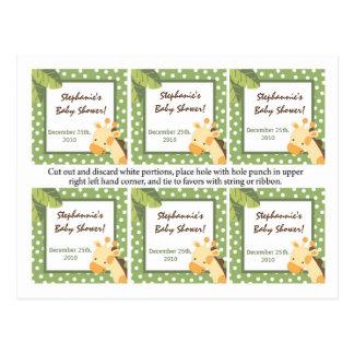 Verde de la jirafa de la selva del safari de 6 eti tarjeta postal