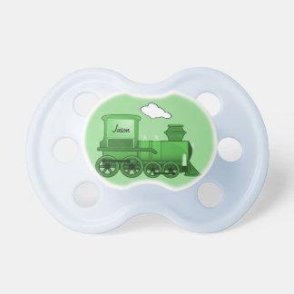 Verde de la locomotora del tren del vapor chupete de bebe