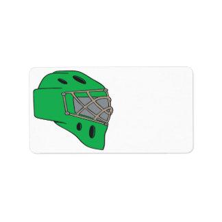 Verde de la máscara del portero etiqueta de dirección