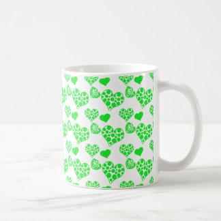 Verde de la mezcla 2 del corazón tazas de café