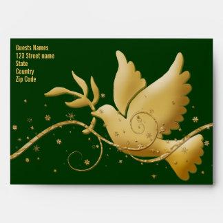 Verde de la paz de la paloma y plantilla del sobres