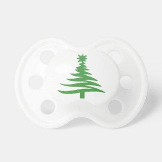 Verde de la plantilla del árbol de navidad chupetes para bebes