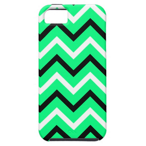 Verde de la primavera, negro, galones blancos iPhone 5 funda