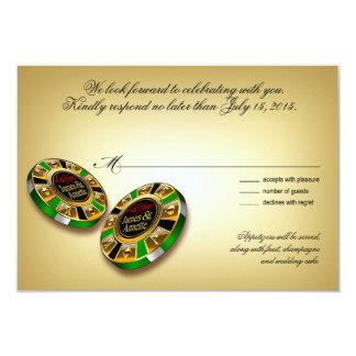 Verde de la respuesta el | de Las Vegas VIP RSVP Invitación 8,9 X 12,7 Cm