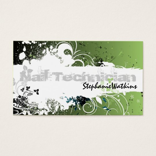 Verde de la salpicadura del Grunge de la tarjeta Tarjetas De Visita