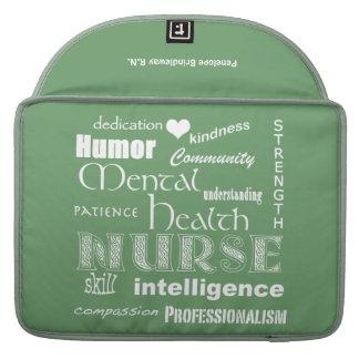 Verde de la salud mental Nurse-/Name/Soft+White/13 Fundas Macbook Pro