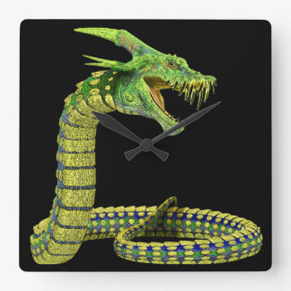 Verde de la serpiente de la criatura relojes de pared
