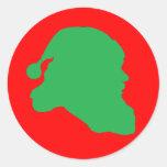 Verde de la silueta de Papá Noel en el pegatina ro