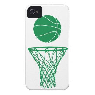 verde de la silueta del baloncesto del iPhone 4 en iPhone 4 Carcasas
