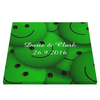 Verde de la sonrisa impresión en lona