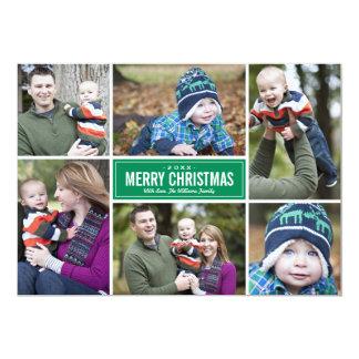 Verde de la tarjeta de felicitación del navidad comunicados personalizados