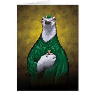 Verde de la tarjeta de la graduación del oso polar