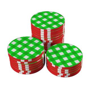 Verde de la tela escocesa 1 fichas de póquer