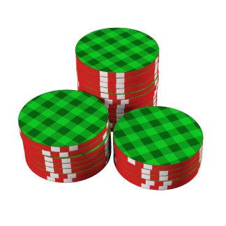 Verde de la tela escocesa 2 fichas de póquer