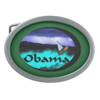 Verde de la tormenta del barco de Obama Hebillas Cinturon Ovales