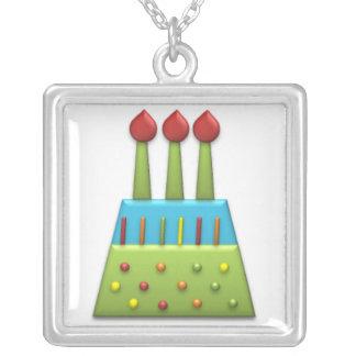 Verde de la torta de cumpleaños del arco iris del  colgante cuadrado