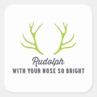 Verde de las astas el   de Rudolph Pegatina Cuadrada