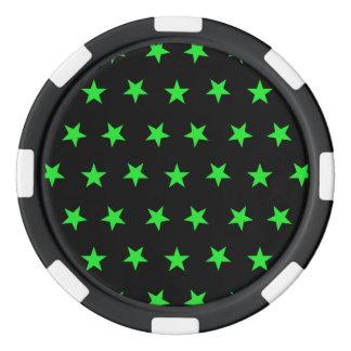 Verde de las estrellas 8 juego de fichas de póquer