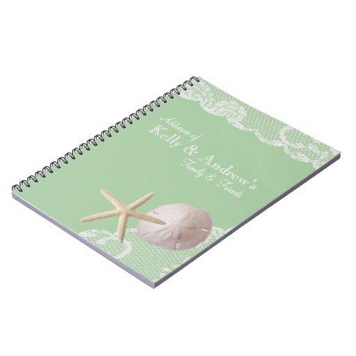 Verde de las estrellas de mar y de la playa del co cuadernos