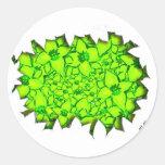 Verde de las flores de corte etiquetas redondas