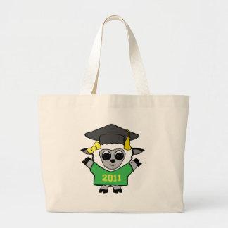 Verde de las ovejas del chica y bolso del graduado bolsa tela grande