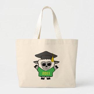 Verde de las ovejas del muchacho y graduado 2011 d bolsa tela grande