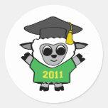 Verde de las ovejas del muchacho y graduado 2011 d pegatina
