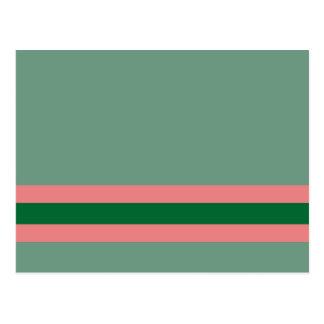 Verde de las rayas con rosa postales