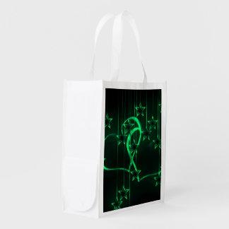 Verde de los amantes de la noche estrellada bolsas reutilizables