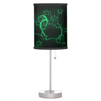 Verde de los amantes de la noche estrellada lámpara de mesa