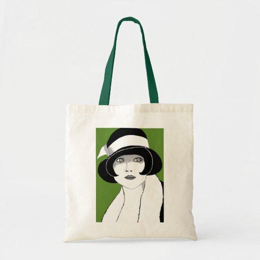 verde de los años 20 bolsa tela barata