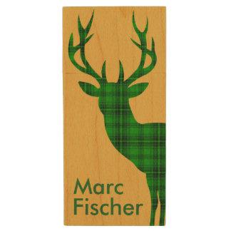 Verde de los ciervos el   de la tela escocesa pen drive de madera USB 2.0