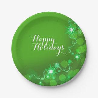 Verde de los copos de nieve del navidad moderno plato de papel 17,78 cm